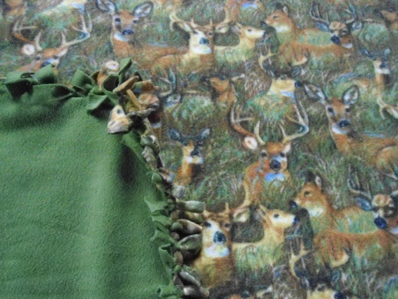 "Large, Adult Size Wilderness Buck/Deer Camo no sew fleece blanket with Leaf Green Back (72"" x 60"")"