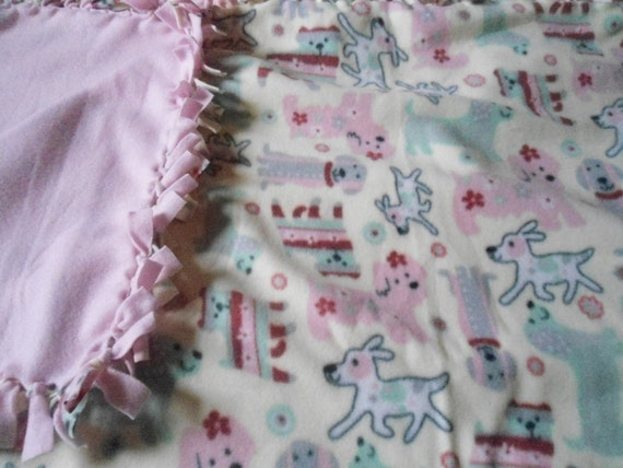 "Large Doggie Cream and Pink No Sew Fleece Blanket- Double Sided with Light Pink Back 60"" x 72"""