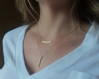Gold Bar Layered Necklace, Gold Filled Rectangle Tube Minimalist Necklace, Minimal Bliss, Valentines Mothers Day