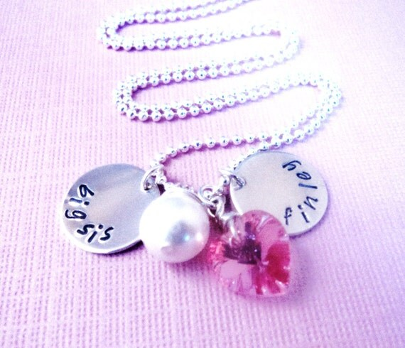 Big Little Sister Charm Necklace, Personalized Handstamped, Gift, cyber monday etsy