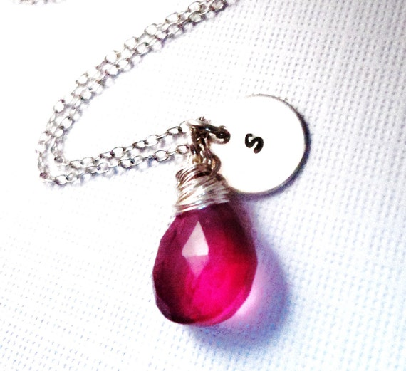 Gorgeous Hot Pink Quartz Handstamped Sterling Silver Wire Wrapped Necklace, Hot Pink Customized Bridesmaid Gift, Mothers Day