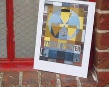 Patchwork Fallout Shelter Sign Print
