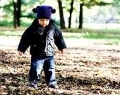 Blue Merino Wool Baby / Toddler Pom Pom Hat.