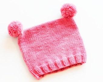Pink Merino Wool Baby / Toddler Pom Pom Hat.