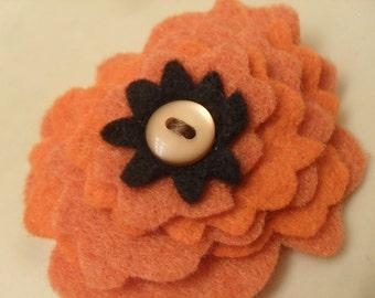 Orange Felt Flower Pin