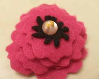 Pink Felt Flower Pin