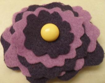 Purple Felt Flower Pin