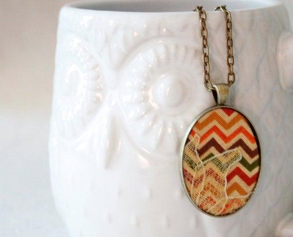 Chevron Fabric Pendant Necklace with Lace, Boho Chic Pendant