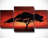 Original Acrylic African Tree Abstract Painting 38x20 (3 separate panels right and left 11x14 and center 16x20)