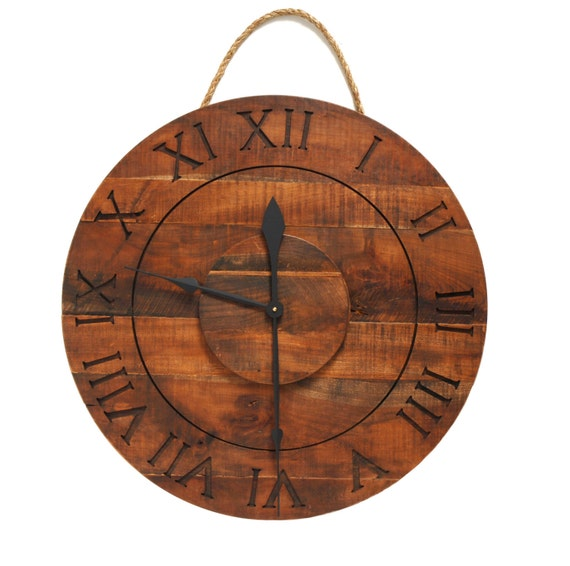 large reclaimed cherry wood wall clock