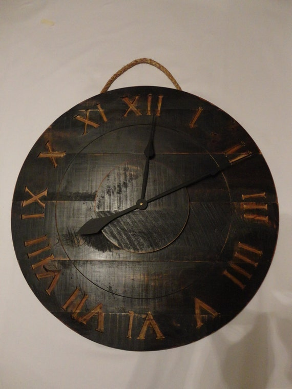 Salvaged Wood Wall Clock in Black