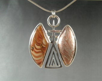 Wave Dolomite and Mokume gane set in fine silver angel pendant