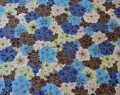 Blue, Green, Brown Flower Fabric
