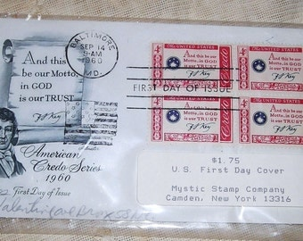 Francis Scott Key / And this be our Motto , in God is our Trust /  Star Spangled Banner / 1960 First Day Cover / Americana