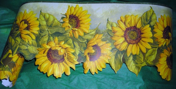 Vintage Wallpaper Border Sunflowers Decorative Edge