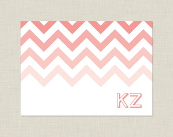 Chevron Personalized Stationery Set / Personalized Stationary Set / Ombre Note Cards