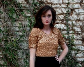 90s Gold Blouse Textured Top Womens shirt Stretchy Free Size