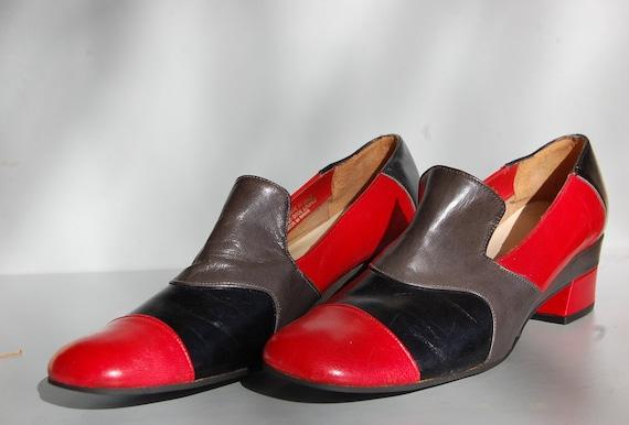 Deadstock 80s Loafers Red Gray Black Leather Unworn Shoes / 6.5 N US / 37.5 N EUR / 5 N UK