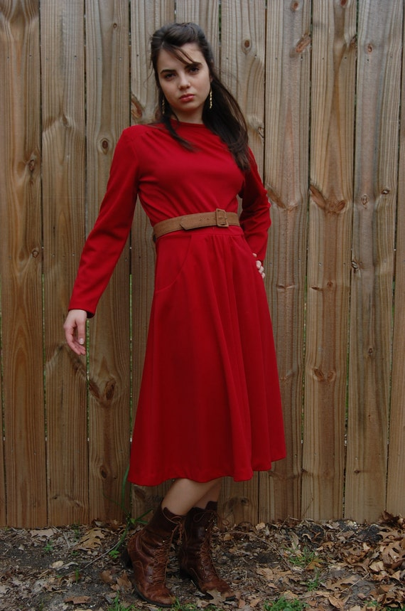 70s Red Dress / S