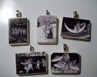 Your choice of Fantasy pictures or Fairies handcrafted Game Piece Necklace on voile necklace with gift bag