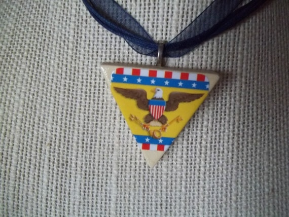 Patriotic Eagles handcrafted Game Piece Necklace on voile necklace with gift bag