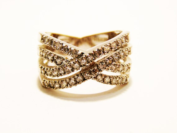 Vintage LIA SOPHIA Rhinestone Wave Ring