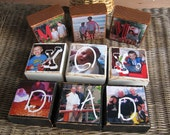 Mothers Day Fathers Day Gifts PHOTO BLOCKS PERSONALIZED Giftor Mom, Dad, Birthday Christmas Gift - Set of 3