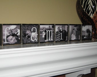 PERSONALIZED Family Name Sign Photo Blocks, Customized Decorations for Home, Weddings, Birthday, Christmas Gift, SET of  6