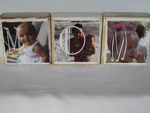 Gifts for Mom PERSONALIZED Womens PHOTO BLOCKS Mothers Day Gift ideas Personalized Gift for Mom - Set of 3 Blocks
