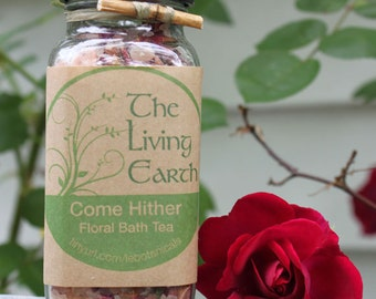 Floral Bath Tea, Aromatherapy Bath Salt, Bath Soak, Come Hither, 8oz.