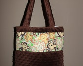 LARGE brown and white minky dot monkey diaper bag/ purse/ tote