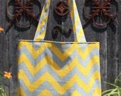 MEDIUM yellow and gray CHEVRON stripe zigzag Handbag/ Diaper Bag/ Purse/ Tote/ Beach Bag