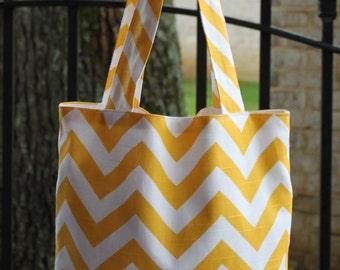 MEDIUM yellow and white CHEVRON stripe zigzag Handbag/ Diaper Bag/ Purse/ Tote/ Beach Bag