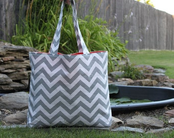X-LARGE gray and white chevron stripe zigzag Beach Bag/ Diaper Bag/ Purse/ Tote with Orange Interior