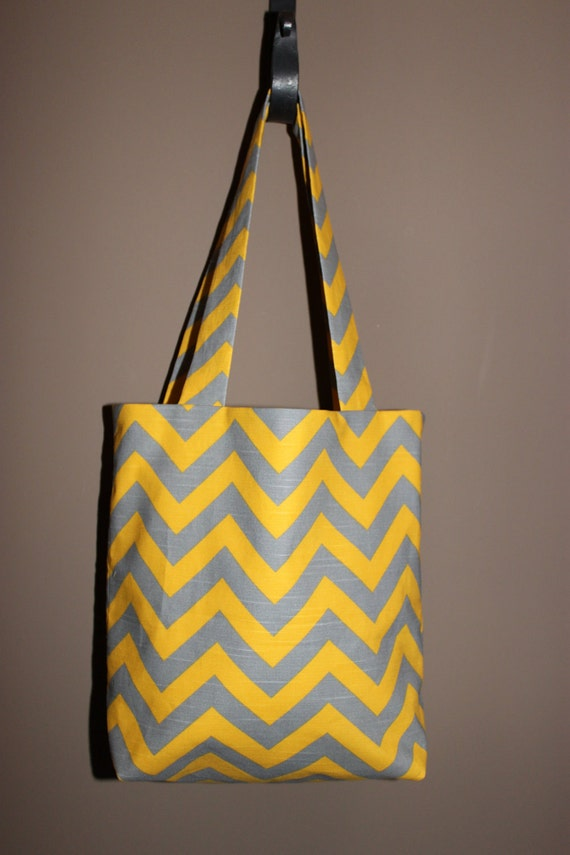 LARGE yellow and gray CHEVRON stripe zigzag Handbag/ Diaper Bag/ Purse/ Tote/ Beach Bag