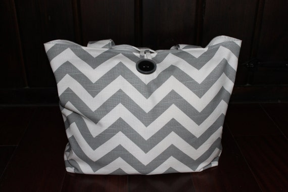 BEAUTIFUL ash gray and white chevron stripe diaper bag/purse with button closure- X-Large