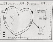 Sewing pattern heart  'I Love You Sew Much'  - Repurposed Vintage Valentine Art.