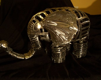 "Welded Elephant Metal Sculpture/Lamp ""Nell"""