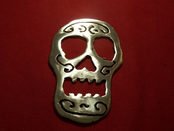Steel Sugar Skull Bottle Opener B