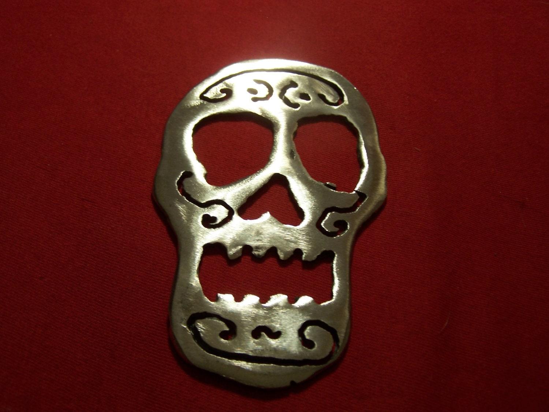 Steel Sugar Skull Bottle Opener B by 2ndChanceMetalArt on Etsy