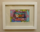 RESERVED LISTING for CLAIRE...She Lives On Love Street, mix tape cassette, framed applique.