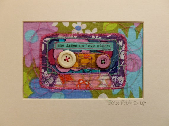 Bespoke Art, Personalised Mix Tape Cassette, vintage boho chic, retro cool, framed applique, custom made especially for you.