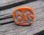 Love Birds adjustable ring- polymer clay, fun unique gift, teens, woman