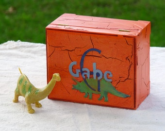 Personalized Storage Box for Boys, Dinosaurs, RB/TR