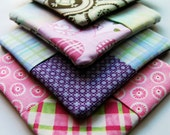 "Coaster Set of 4 ""Pastels & Plaids"" -  Free US Shipping"