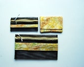 Nesting Pouches- Yellow and Black - Set of 3 -  Free US Shipping