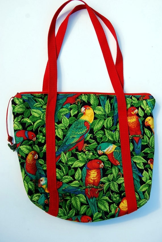 Tropical Birds Tote with jade ornamental zipper pull