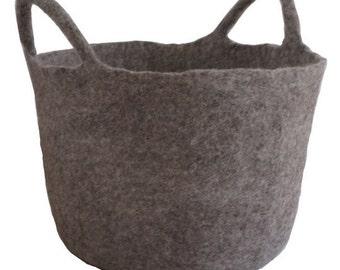 Grey felted basket