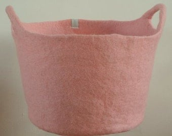 Soft pink felted basket