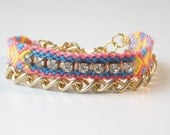 Double wrap hand knotted friendship bracelet with crystals and gold chain